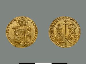 Златна монета на Константин VII и неговата майка импертрица Зоя (914-919)
